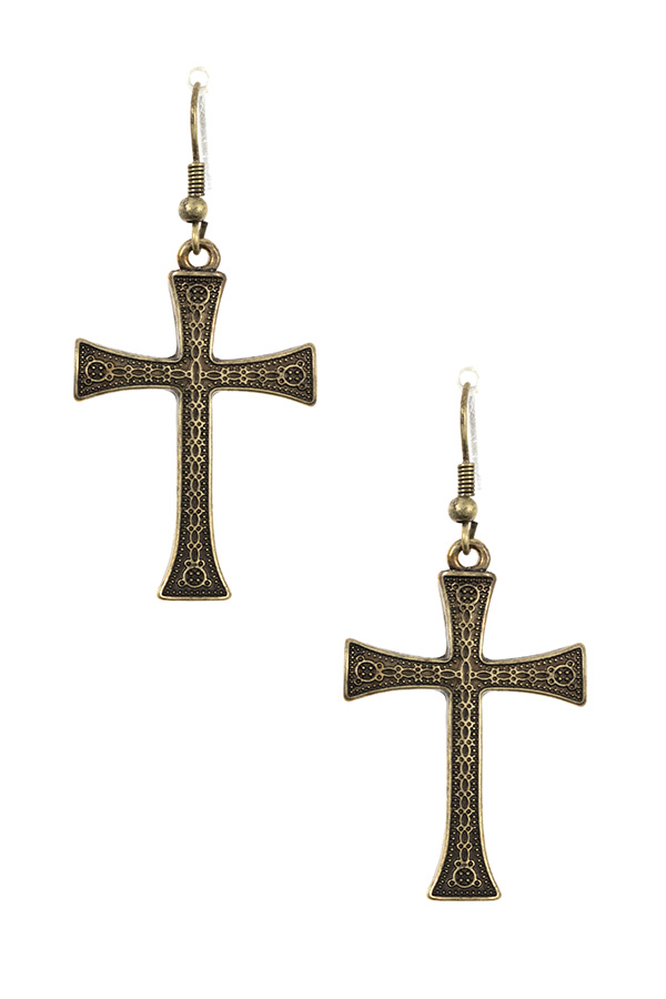 DETAILED CROSS DANGLE EARRING