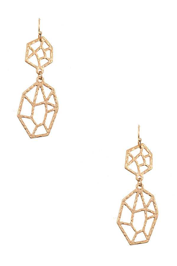 HAMMERED GEO CUT DROP EARRING