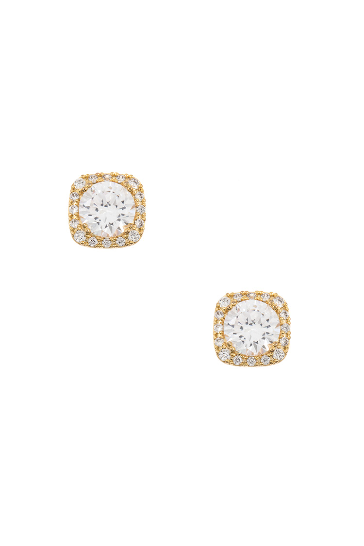 CZ Stone Framed Trim Post Earring