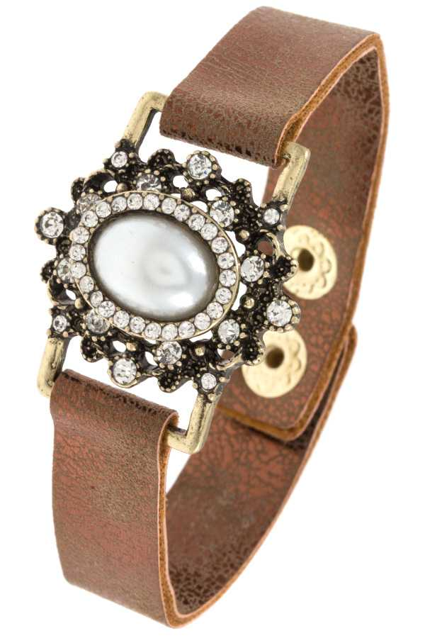 GEM AND PEARL ORNATE BRACELET
