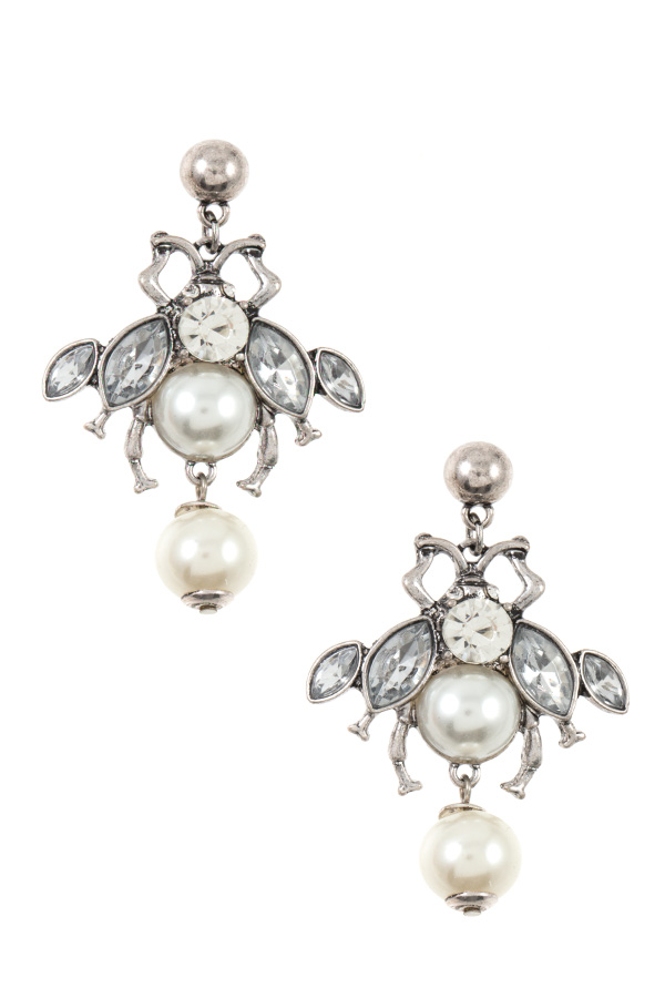 GEM AND PEARL BEE DANGLE EARRING