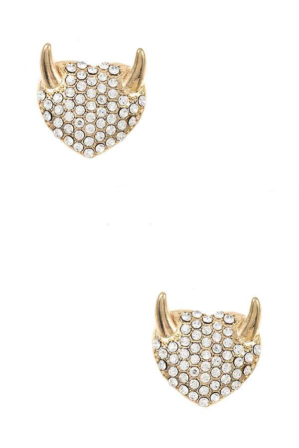 RHINESTONE PAVE EVIL HEART PSOT EARRING