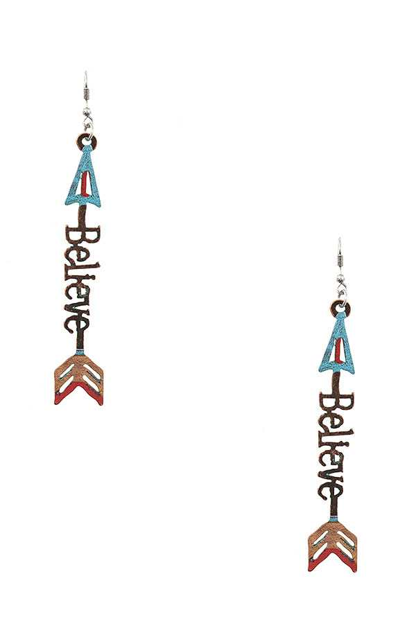 BELIEVE ARROW ACCENT DANGLE EARRING