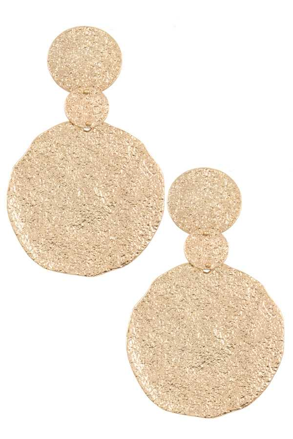 Hammered Round Drop Earring