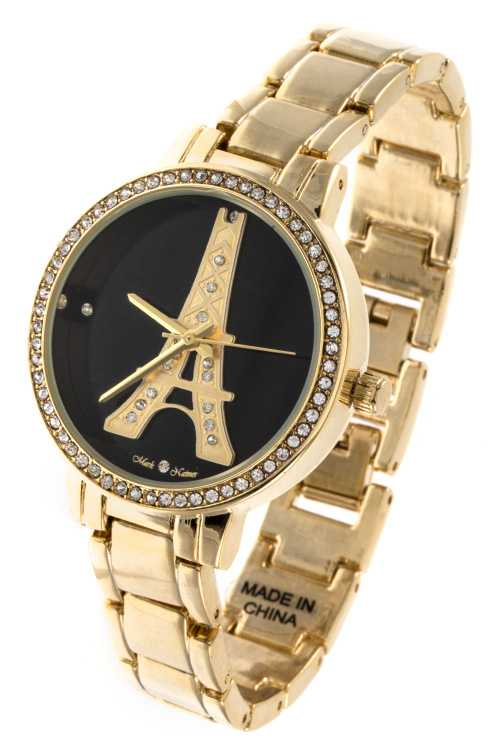 Eiffel Tower Template Accent Rhinestone Detailed Watch