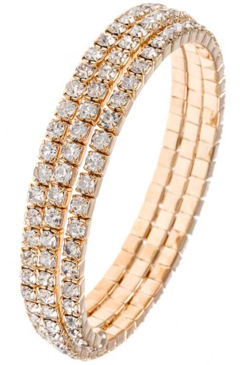 Faceted Rhinestone Framed Accent Triple Row Wrap Bracelet