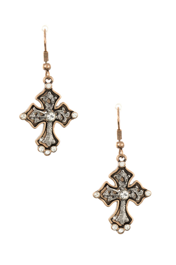 ETCHED CROSS DANGLE GEM ACCENT EARRING