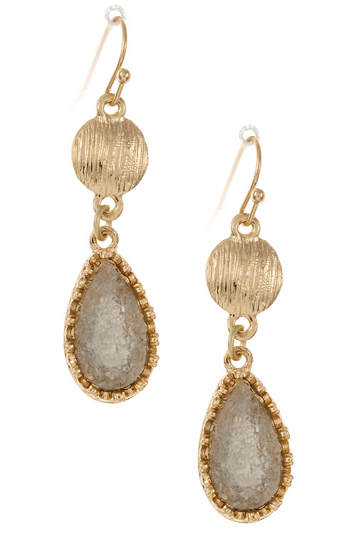 Double Drop Textured and Druzy Stone Dangle Earring