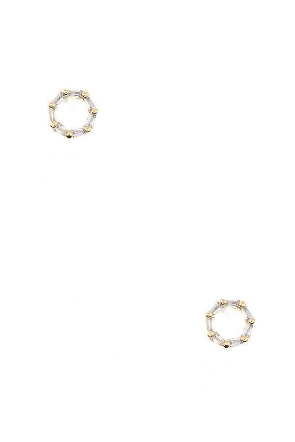 ROUND CZ STONE POST EARRING