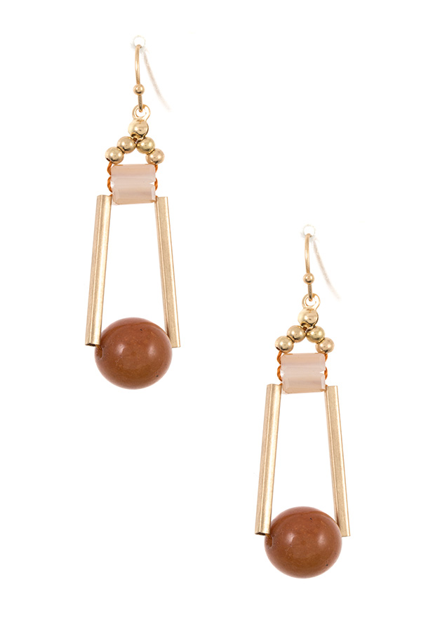 DROP BEAD DANGLE EARRING