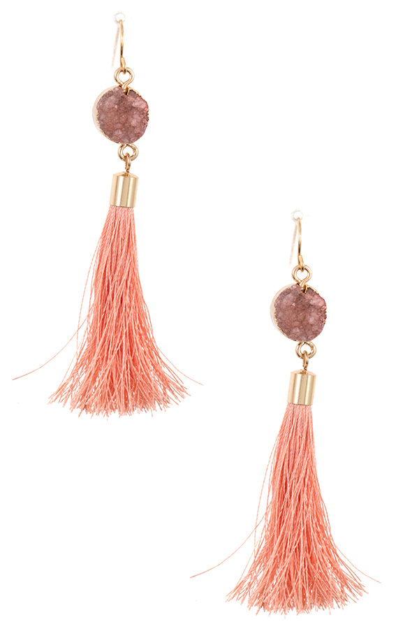 Faux Druzy Stone Tassel Dangle Earring