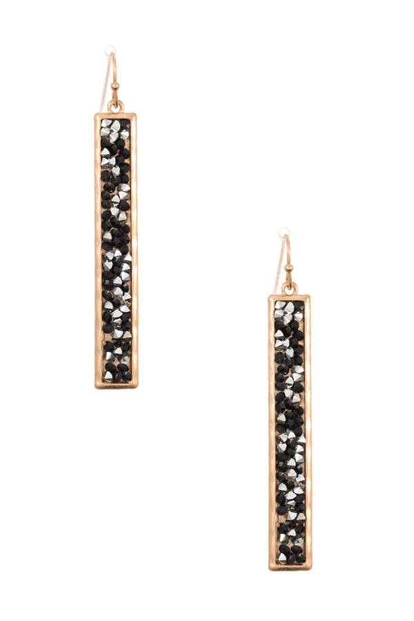 DROP GEM CLUSTER BAR DANGLE EARRING