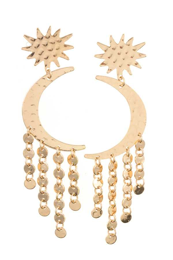 CRESCENT COIN DROP FRINGE EARRING