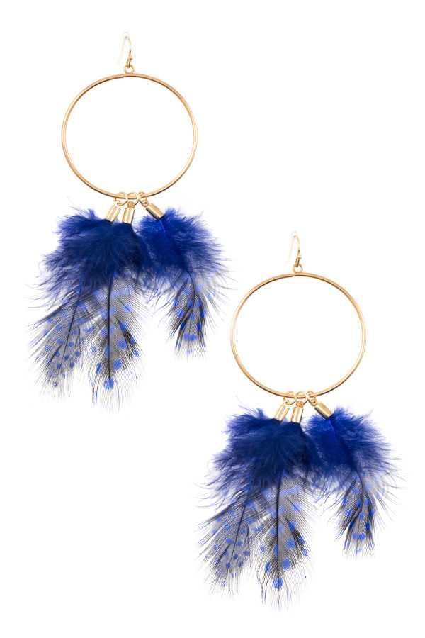 RING LINK FEATHER DANGLE EARRING