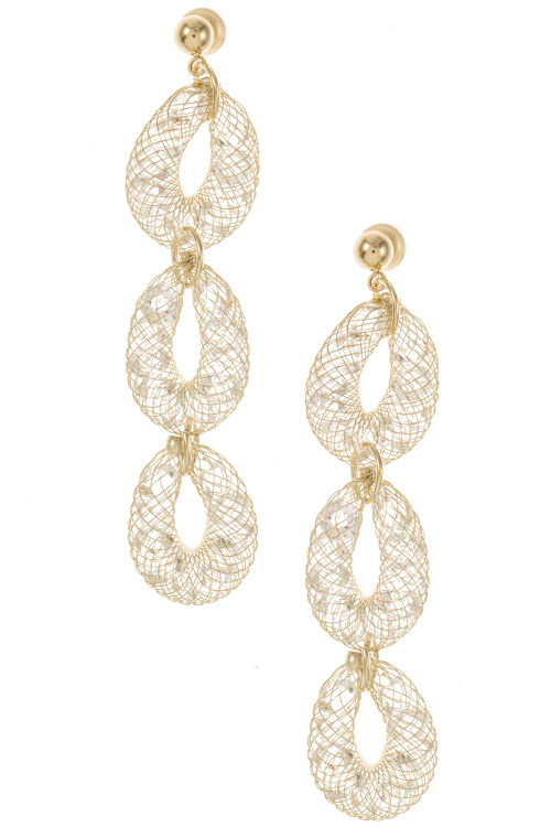 Triple Drop Link Mesh Chain Swarovski Gem Stone Dangle Earring