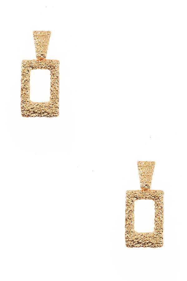 TEXTURED RECTANGLE DANGLE EARRING
