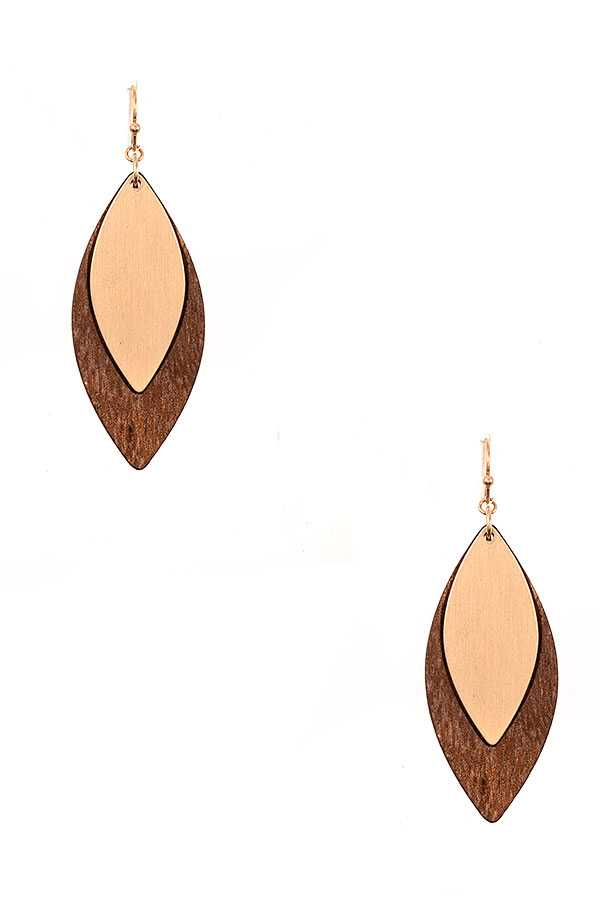 WOODED MARQUISE LINK DROPE EARRING
