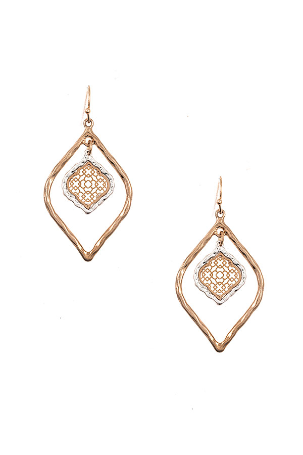 DOUBLE LINK CUT OUT DANGLE EARRING