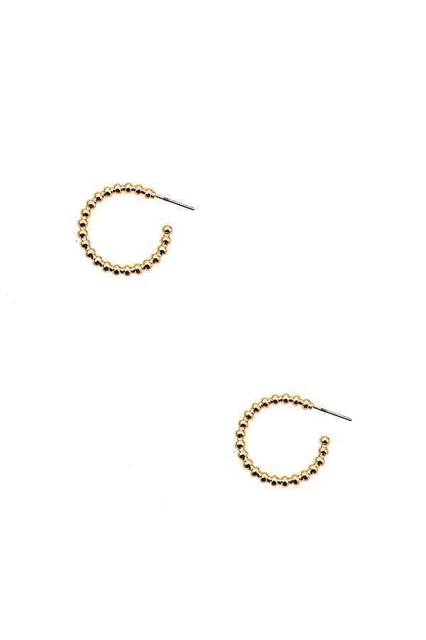 MINI BEAD SEMI HOOP EARRING