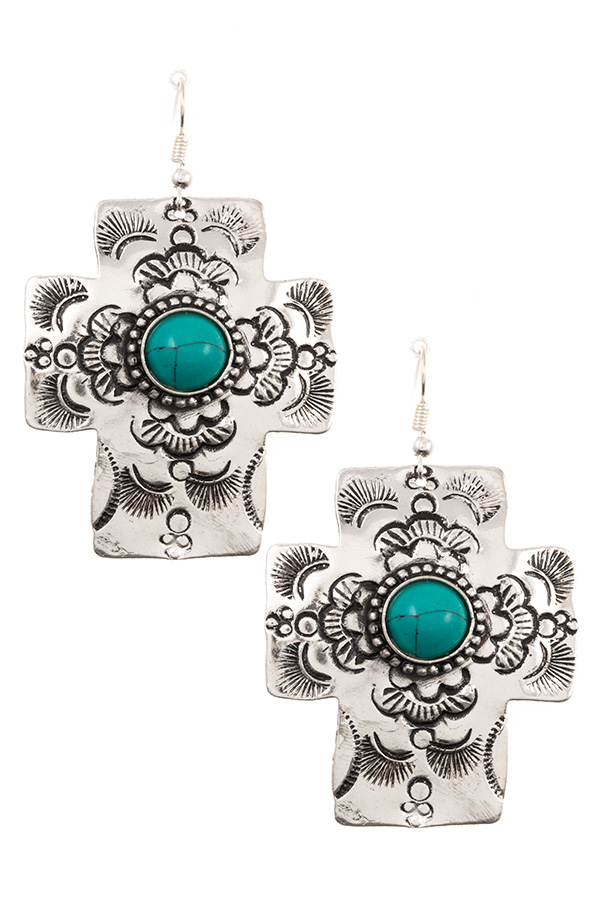 LARGE ETCHED CROSS DANGLE EARRING
