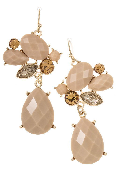 Mix Faux Stone Teardrop Dangle Earring