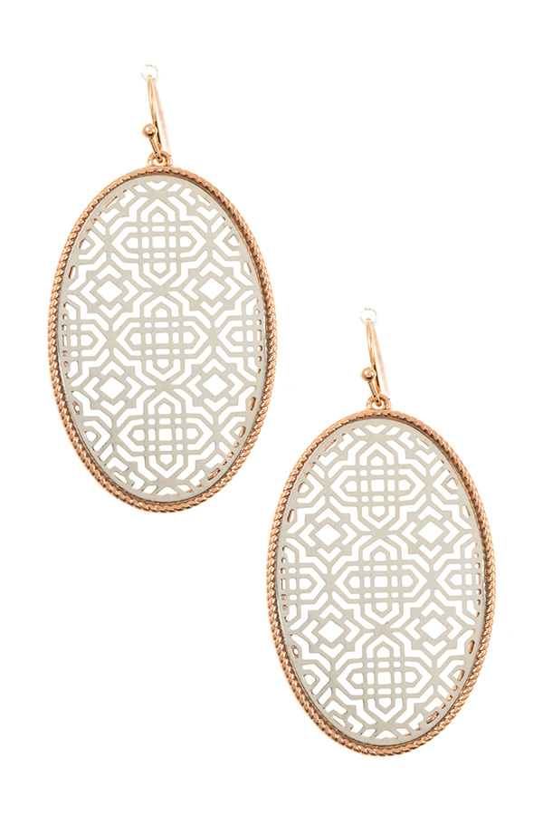 OVAL TWO TONE CUT OUT DESIGN  DANGLE EARRING