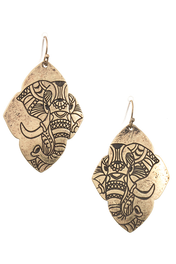 ETCHED ELEPHANT DANGLE EARRING