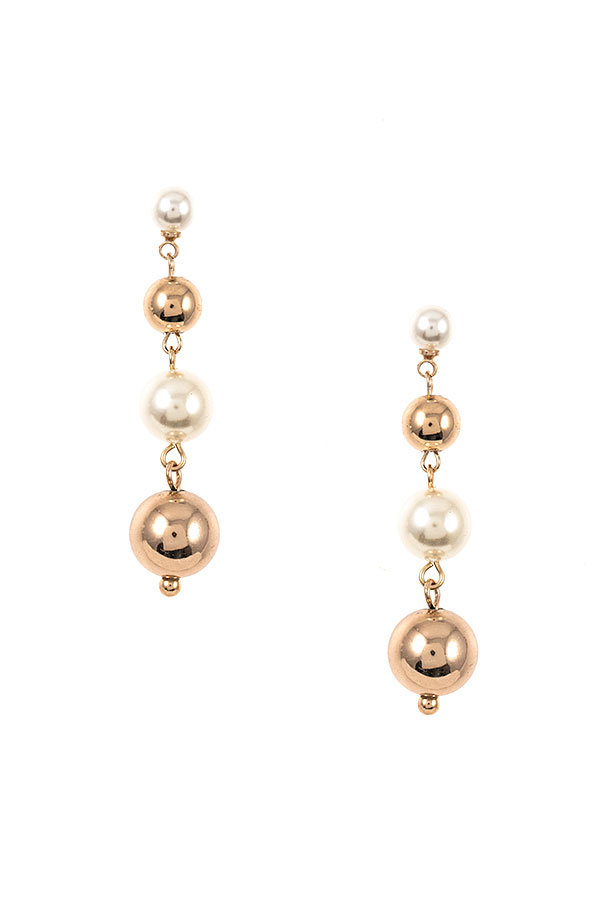 PEARL AND METAL ORB DROP EARRING
