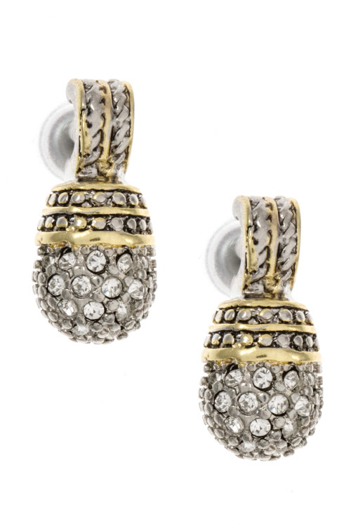 Cable Wire Detailed Drop Rhinestone Earring