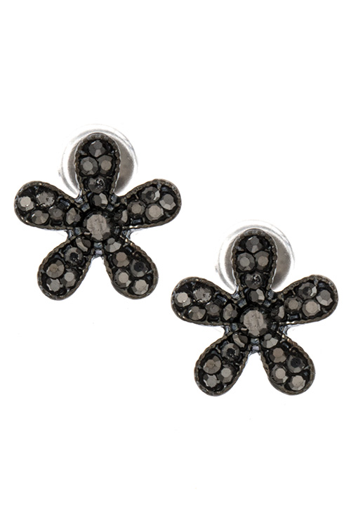 Rhinestone Pave Flower Small Post Earring