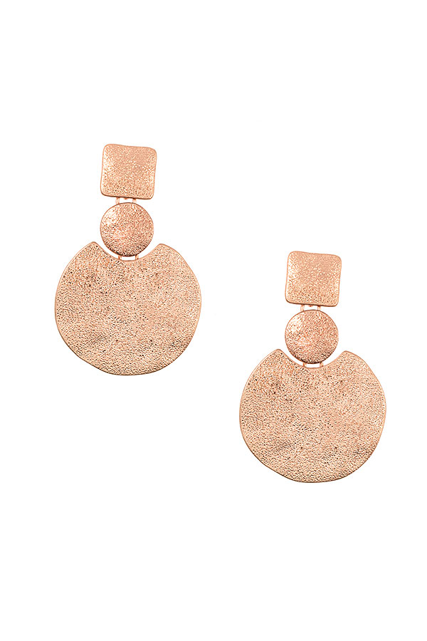 PUNCHED DETAILED DISK DROPE EARRING