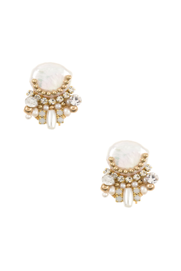 CLUSTER FRESHWATER PEARL POST EARRING