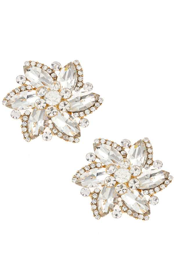 FLORAL CRYSTAL CLIP ON EARRING