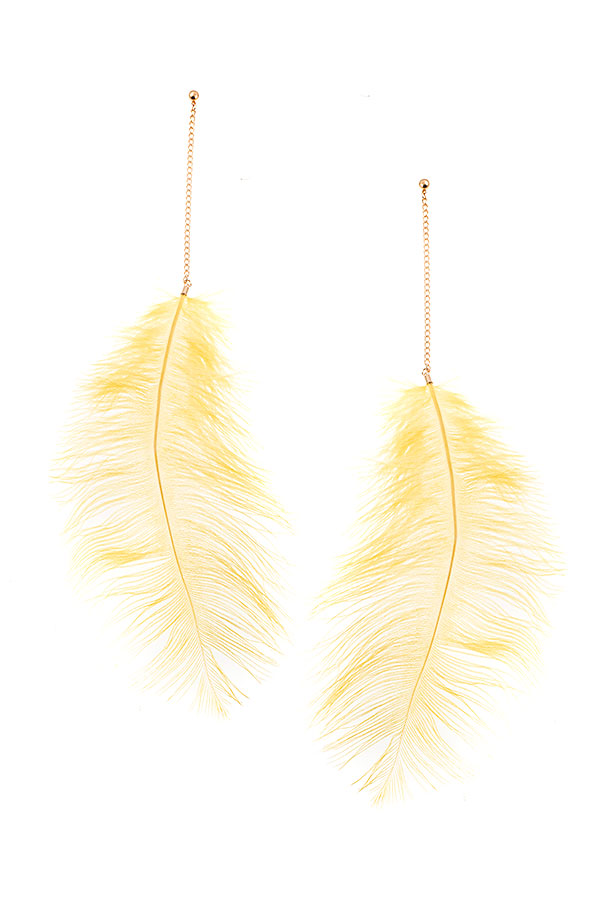 OVERSIZE FEATHER DANGLE EARRING