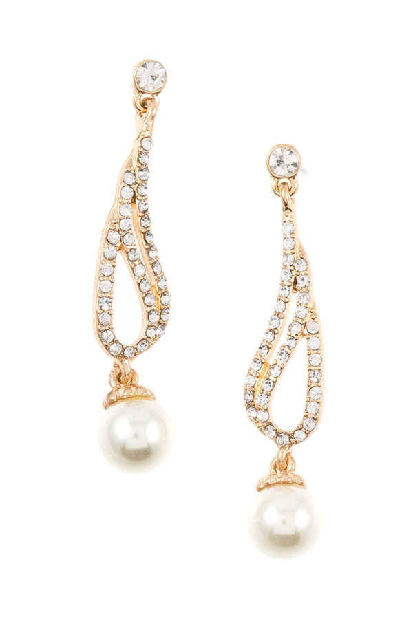 RHINESTONE AND PEARL PAVE DROP DANGLE EARRING