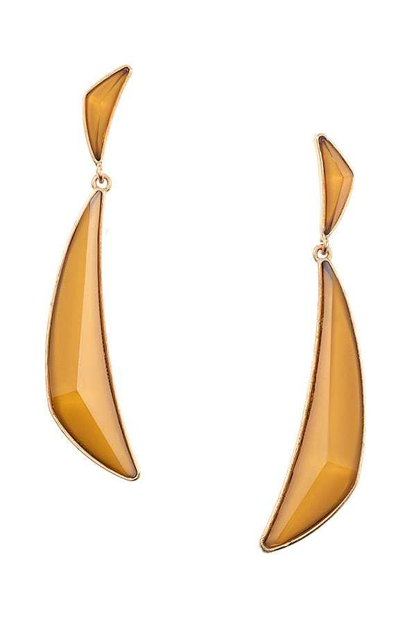 DOUBLE FACETED LINK STONE DROP EARRING