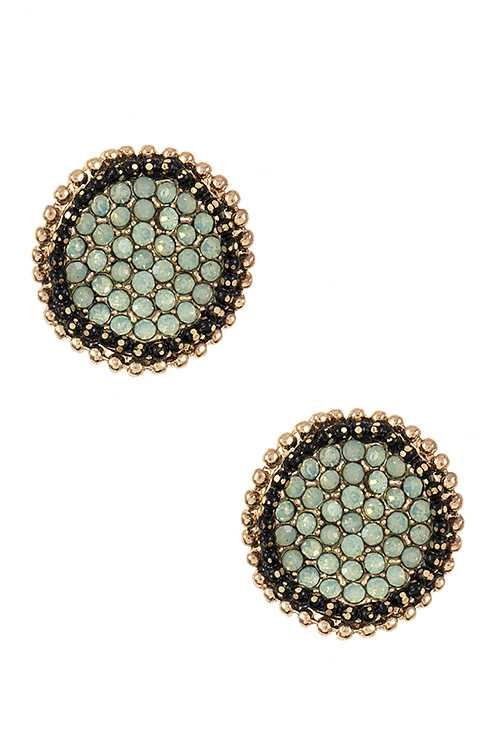 Rhinestone Pave Wave Disk Post Earring