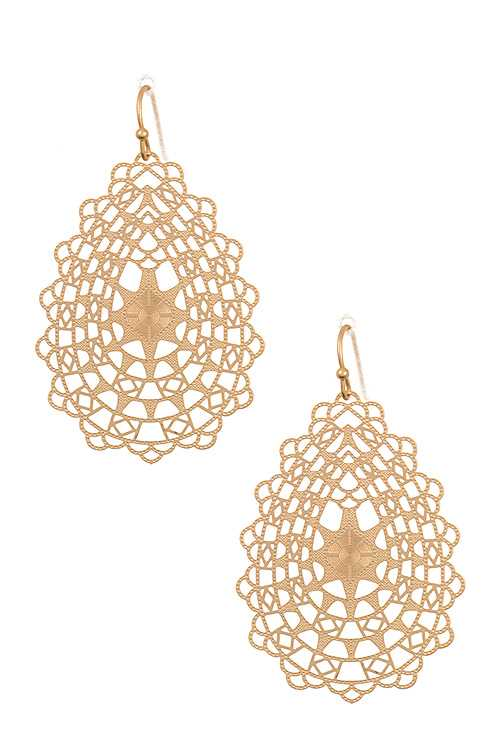 Lightweight Cut Out Ornate Teardrop Dangle Earring