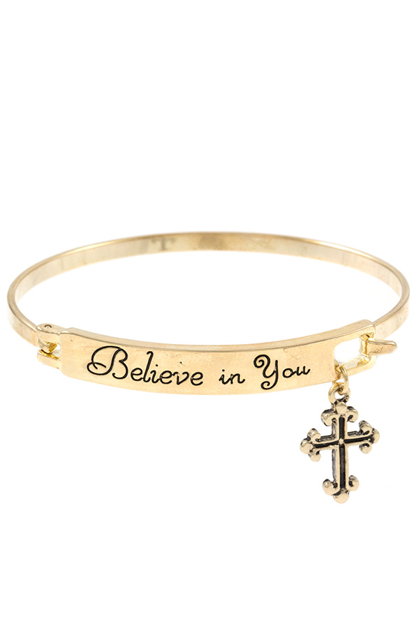 CROSS CHARM BELIEVE IN YOU ACCENT BANGLE BRACELET