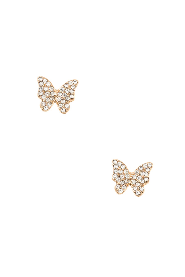 RHINESTONE PAVE BUTTERFLY POST EARRING