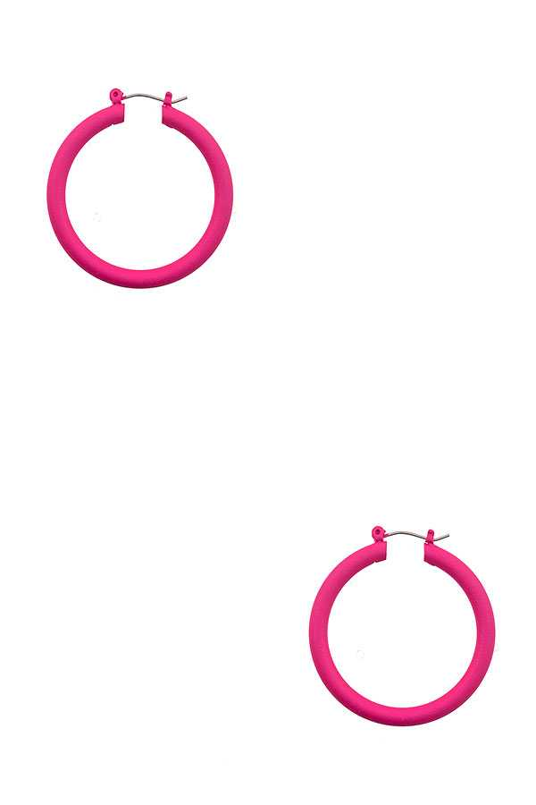 RUBBER METAL COATED HOOP EARRING