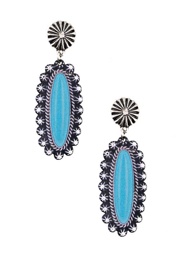 LONG LENGTHWISE TURQUOISE PRINTED DROP EARRING