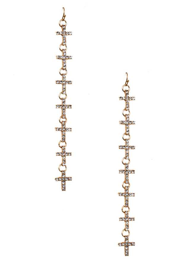 RHINESTONE PAVED CROSS DROP EARRING