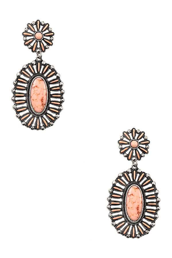 DOUBLE DROP OVAL GEM FLORAL ORNATE EARRING