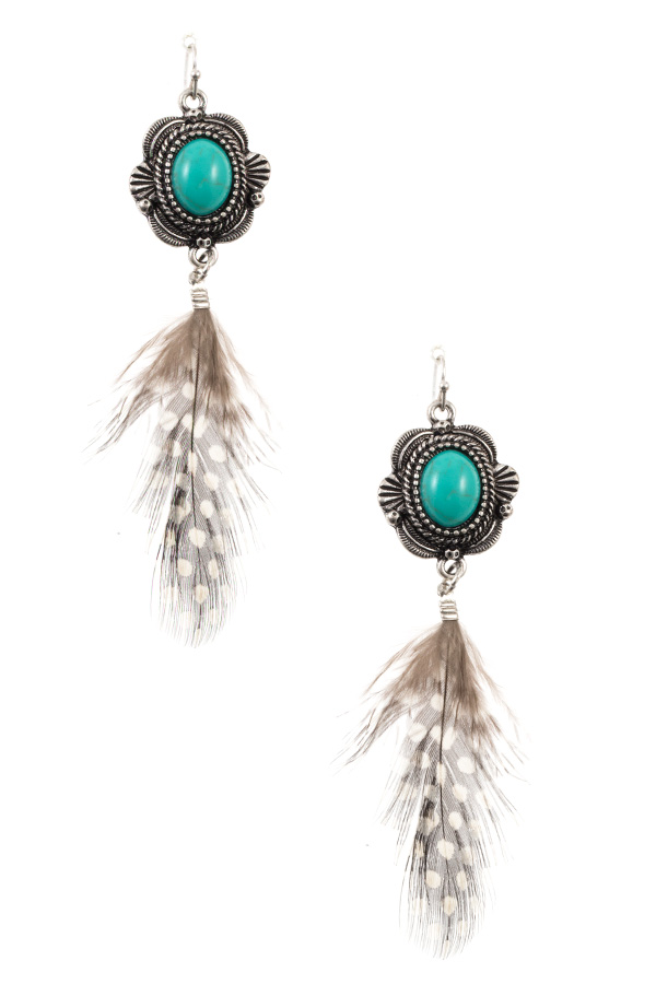 GEM FRAMED FAUX FEATHER DANGLE EARRING