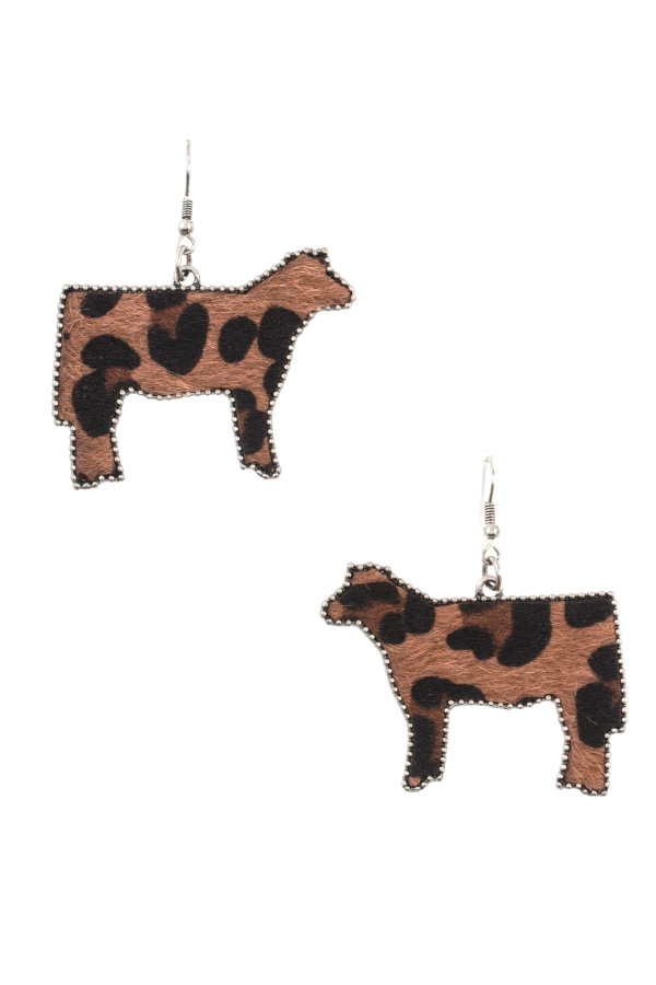 ANIMAL PRINT DOTTED FRMAED COW EARRING