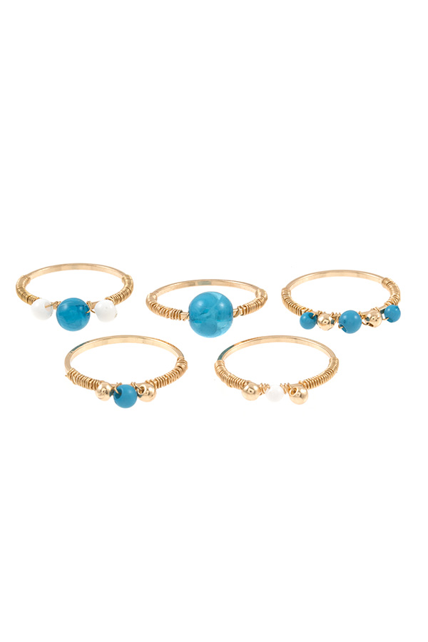 Wired Gem Accent 5 Piece Ring Set