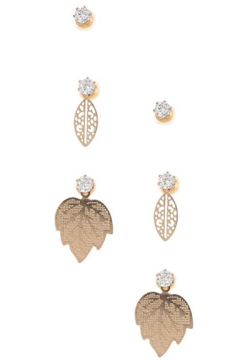 Mix Leaf 3 Piece Earring Set