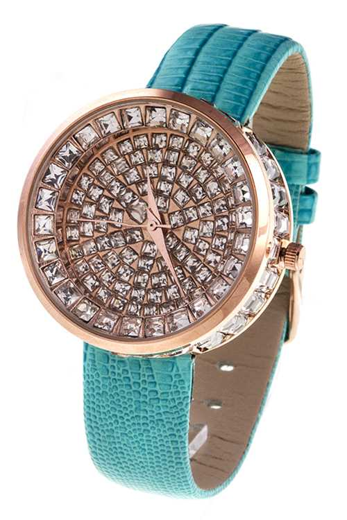 RHINESTONE STUD FRAMED ACCENT SYNTHETIC LEATHER FASHION WATCH