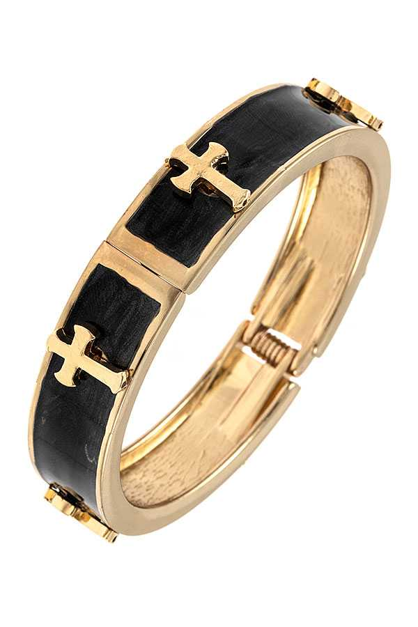 CROSS ACCENT STATION BANGLE HINGE BRACELET